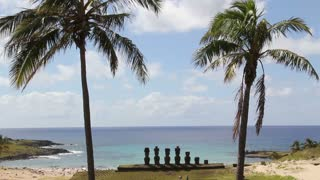 Anakena beach at the Easter Island, Rapa Nui
