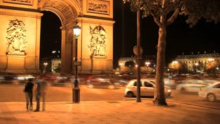 Arc de Triomphe at night time lapse, Paris, France