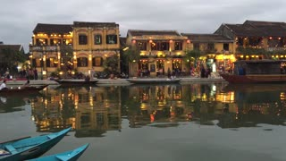 Architecture and Boats in the evening at Hoi An Vietnam