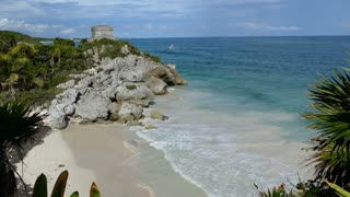 Beach next to the ancient Mayan fortress in Tulum Yucatan, Mexico