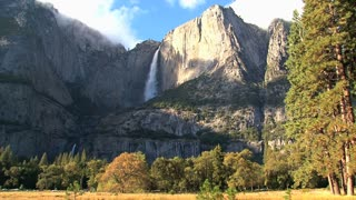 Big mountains with waterfall in Yosemite National Park