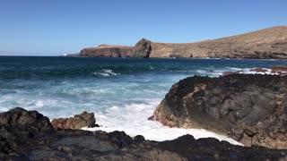 Big wave hits the coast of Agaete and Puerto de las Nieves Gran Canaria