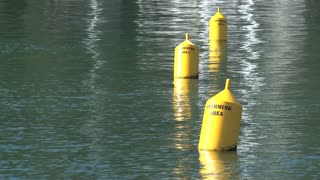 Buoys floating in water