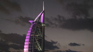 Burj al Arab hotel purple lights, Dubai