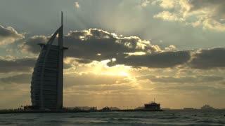 Burj al Arab hotel sunset, Dubai