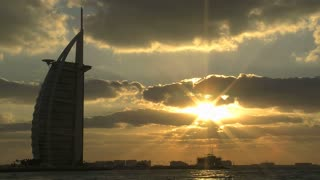 Burj al Arab hotel sunset time lapse, Dubai