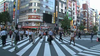 Busy pedestrian in Shinjuku, Tokyo, Japan with a tilt yo the buildings