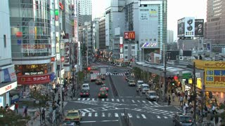 Busy street and pedestrian in Shinjuku, Tokyo, Japan