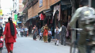 Busy street with school kids in Thamel Kathmandu,Nepal