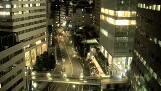 Busy traffic pan time lapse at Shinjuku, Tokyo