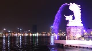 Ca Chep Hoa Rong fountain statue during night in Da Nang Vietnam