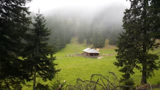 Cabin in a misty valley at piatra craiului national park Romania