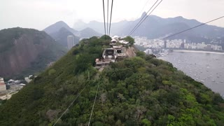 Cable car going up to the Sugarloaf Mountain in Rio de janeiro Brazil