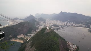 Cable car leaving the peak of the Sugarloaf Mountain in Rio de janeiro Brazil