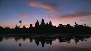 Cambodia,Beautiful morning sunrise Angkor Wat timelapse