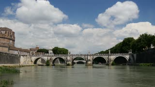 Castel Sant'Angelo, Ponte Sant �Angelo and Fiume Tevere river in Rome Italy