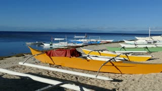 Catamaran Boats in the morning at Balicasag Island in Bohol the Philippines