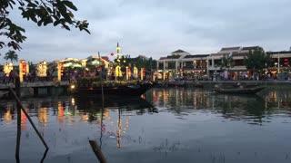 Cau An Hoi bridge in the evening in Hoi An Vietnam