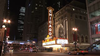 Chicago theater sign at Night view from across the street