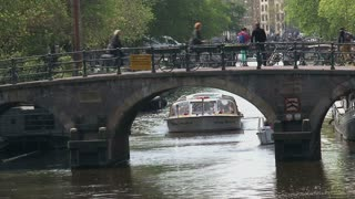 Close up canal boat in Amsterdam