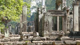 Close up from a side of the Bayon Khmer temple at Angkor Wat Cambodia