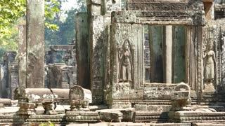 Close up from a side of the Bayon Khmer temple at Angkor Wat Cambodia