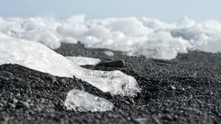 Close up from Ice at the beach in Jökulsárlón Glacier lagoon in southeast Iceland