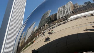 Close up from the Cloud Gate (The Bean) in Chicago