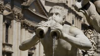 Close up from the fountain at Piazza Navona in Rome