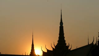 Close up from the sunset at Royal Palace in Phnom Penh Cambodia