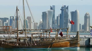 Close up from traditional Dhow, Arab sailing vessels in morning at Dhow Harbour