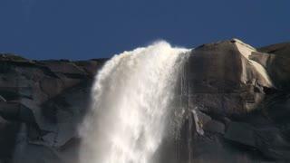 Close up massive waterfall