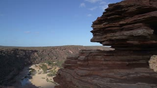 Close up Pan from Nature's Window with Murchison River at the background in Kalbarri National Park Western Australia