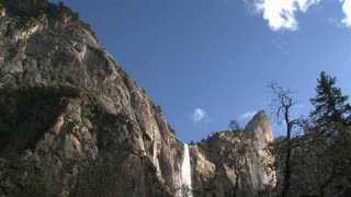Clouds and waterfall time lapse Yosemite National Park