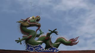 Clouds timelapse of the dragon at the wall around the confucius temple