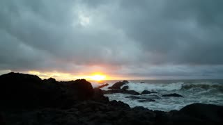 Cloudy sunrise at the coast of Montezuma Costa Rica