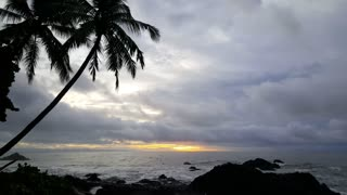 Cloudy sunrise time lapse at the coast of Montezuma Costa Rica