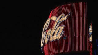 Coca cola sign Las Vegas at night