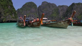 Colorful boats at the beach in Phi Phi island