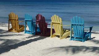 Colorful chairs at palm beach Aruba