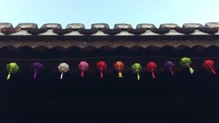 Colorful lanterns Chuc Thanh Pagoda in Hoi An Vietnam
