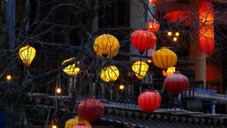 Colourful lanterns at a restaurant in evening at the Old town of Hoi An Vietnam