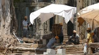 Construction work at the Bayon Khmer temple at Angkor Wat Cambodia