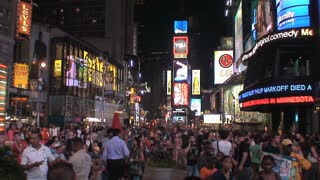 Crowd at Times Square in the evening, New York City