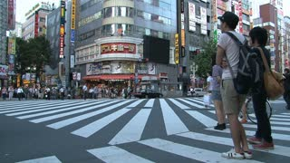 Crowd crossing a pedestrian in the Shinjuku ditrict, Tokyo, Japan