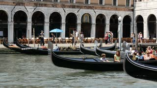 Crowded with Gondolas in Venice Italy