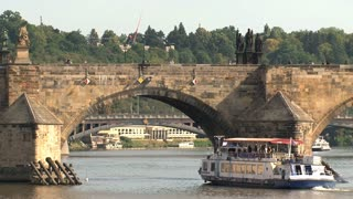 Cruise ship under the Charles Bridge, Prague