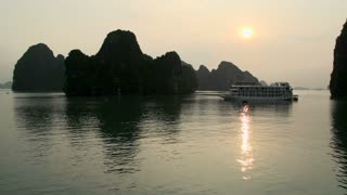 Cruise ships in the bay from Ha Long Bay during sunrise