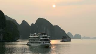Cruise ships in the morning in Ha Long Bay