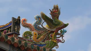 Dalongdong Baoan Temple timelapse from statue at the roof and clouds